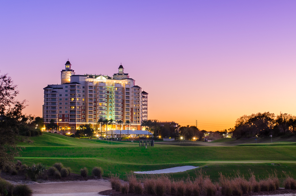 Reunion Resort Orlando at Sunset for a luxury golf vacation