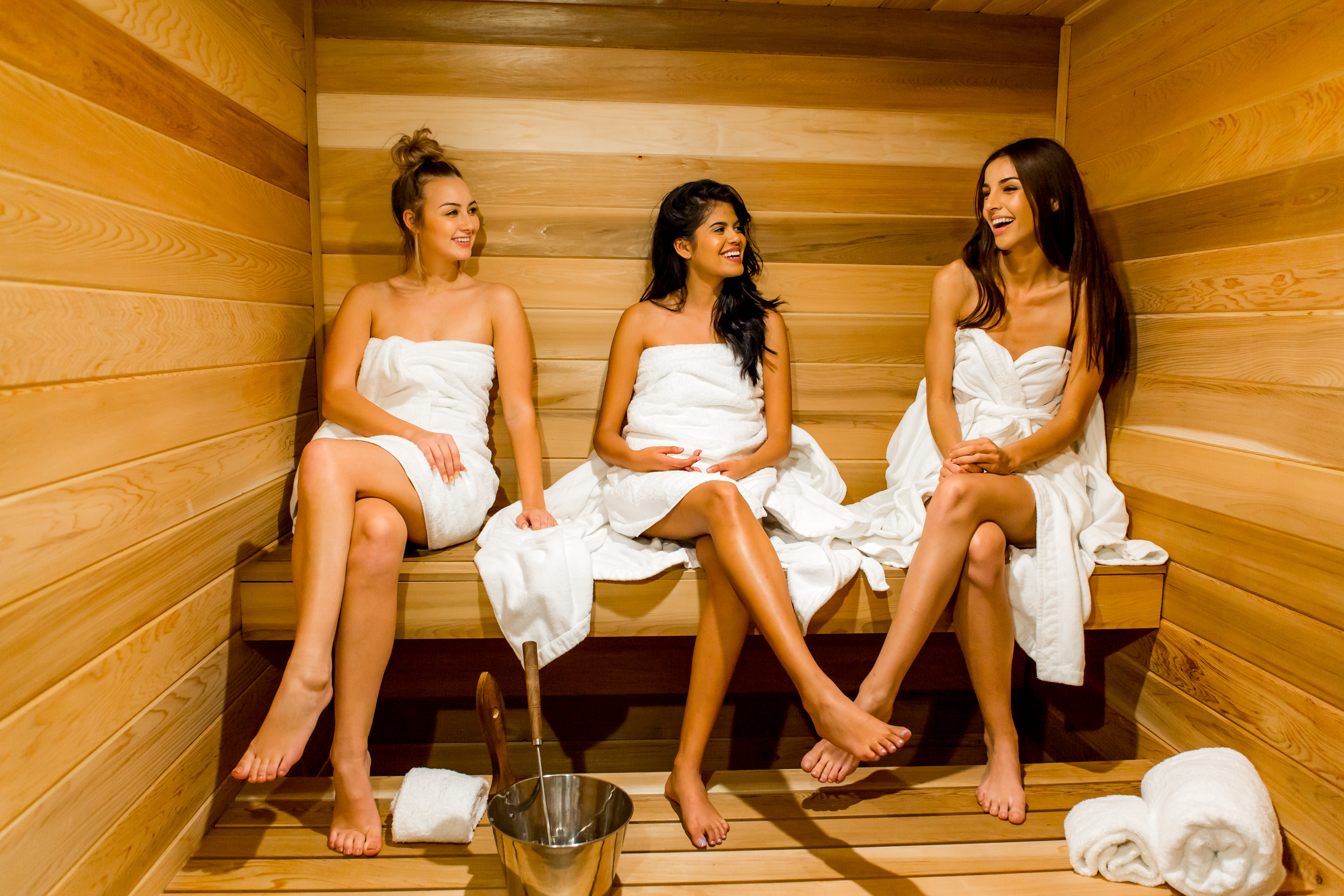 The redwood sauna located at the Isole Villas onsite spa is perfect for relaxing after a long day of vacation